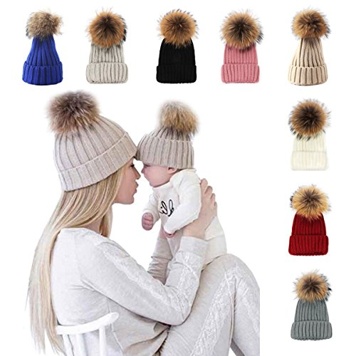 xsby Womens Knit Hat Slouchy, Women's Winter Hand Knit Faux Fur Pompoms Beige 56-59cm -
