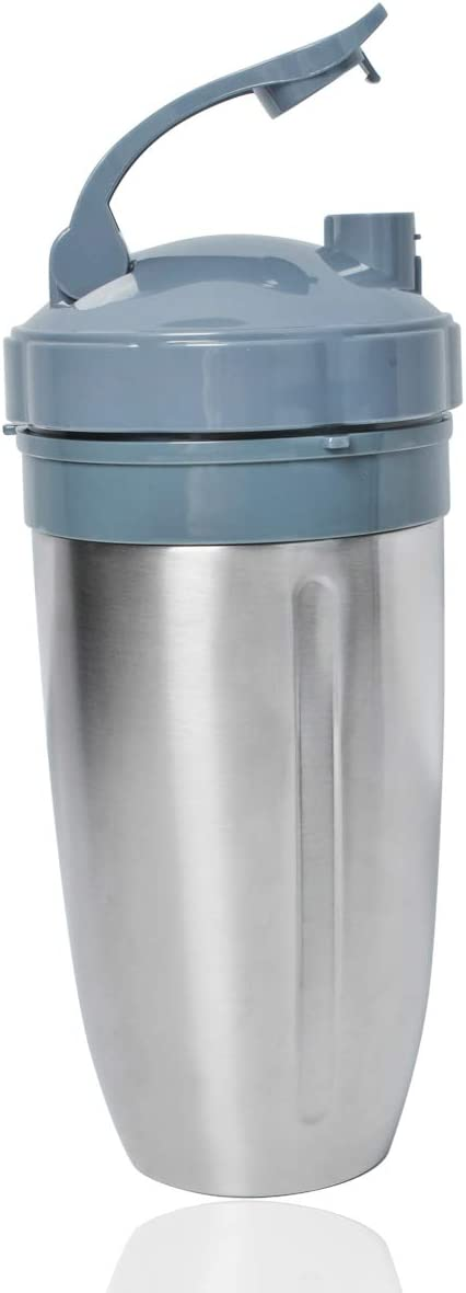 Stainess Steel insulated 28oz Double Wall Colossall Cup with flip top lid for Nutribullet 600W/ 900W/ 1200W, keep your drinks warm or cold for 8 Hours