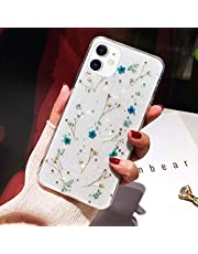 Telefoonhoesje voor iPhone 11 Pro Flower Case, Zachte Siliconen Clear Flexibele Rubber TPU Gel Handgemaakte Gedroogde Echte Bloemen Case Meisjes Vrouwen Bling Glitter Floral Cover voor iPhone 11 Pro Glitter Case,