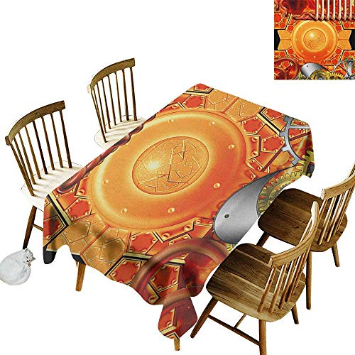 kangkaishi Easy to Care for Leakproof and Durable Long tablecloths Outdoor Picnic Steampunk Retro Mechanism Antique Engine Gear Ancient Technology Vibrant Colors W14 x L72 Inch Multicolor ()