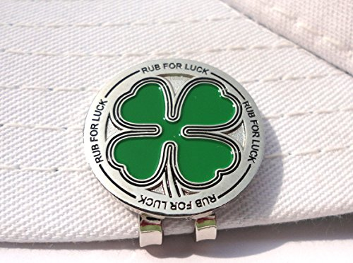 Four Leaf Clover Rub For Luck Golf Ball Marker and Magnetic Hat Clip (Good Golf Hat)