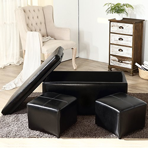 Belleze Rectangular Faux Leather Storage Footrest 2-Ottoman Bench, Large, Black