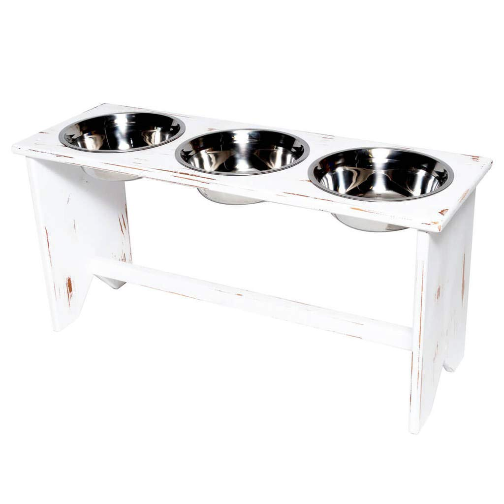 Walnut XL Walnut XL Elevated Dog Bowl Stand Wooden 3 Bowls Same Size Bowls 350 mm   14  Tall XL Walnut Raised Bowls for Kibble, Wet Food and Water