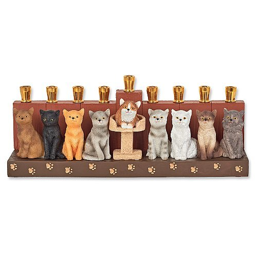 Menorah Ceramic Cat Design Hanukkah Menora by Aviv Judaica