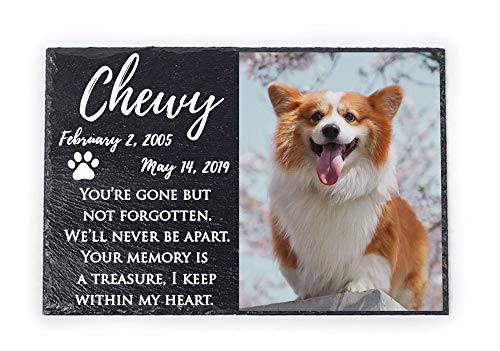 InspiraGifts Custom Pet Memorial Stone | Pet Remembrance Polished Slate | Memorial Plaque | Personalized Dog or Cat Photo Slate | No Longer by Our Side, But Forever in Our Hearts (Stone, 8x12 Black)