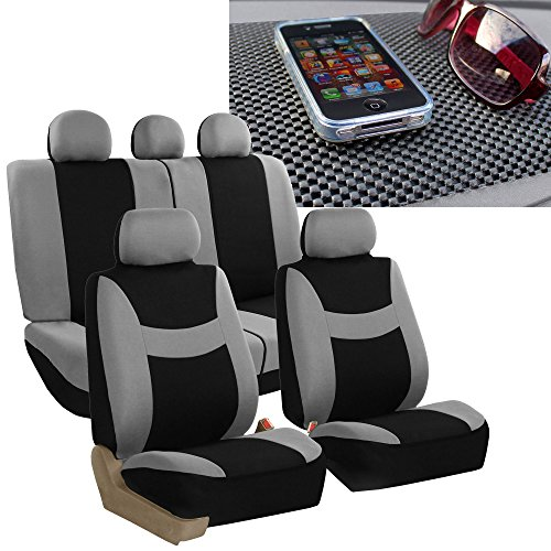 (FH GROUP FH-FB030115 Light & Breezy Cloth Seat Cover Set Airbag & Split Ready, Gray / Black with FH GROUP FH1002 Non-slip Dash Grip Pad- Fit Most Car, Truck, Suv, or Van)