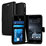 HTC One A9 Case, NuNu Modish HTC A9 Wallet Case [Premium] BLACK CARBON FIBER Stylish Flip Folio Wallet Case with Stand for HTC One A9