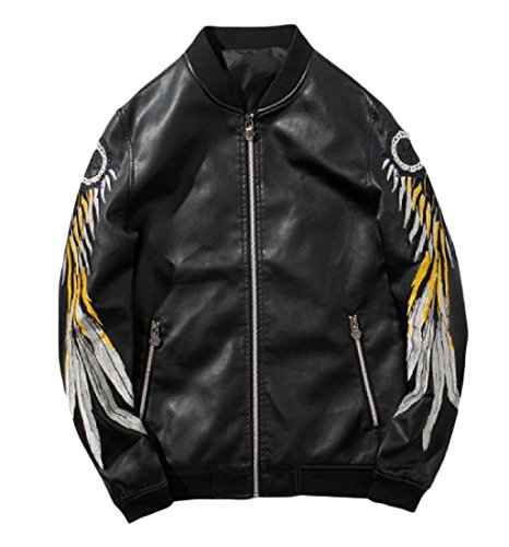 Zimaes-Men Embroidered Mandarin Collar Full Zip Pu Leather Jacket Coat Black ()