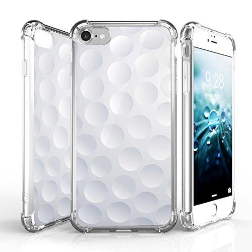 iPhone 7 Case, DuroCase AquaFlex 4 Corner Shockproof TPU Bumper w/ Hard Plastic Back Shield 2in1 Hybrid Case (Clear) For Apple iPhone 7 - (Golf)