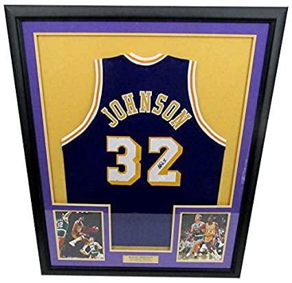 reputable site 4b14d 6c3df Signed Magic Johnson Jersey - LA Framed 140587 - JSA ...