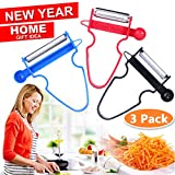 Magic Trio Peelers Set of 3 New Upgrade Potato Peeler Stainless Steel Shredder Slicer Fruit Vegetable Kitchen Starter Kit for Mom by Great Home (Ship From US) Valentine's Day Promotion ONLY 5 Days
