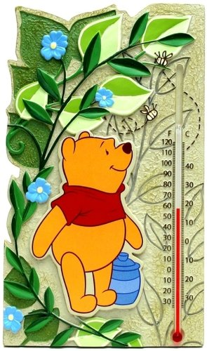 Thermometer Indoor Outdoor Home Wall Mount Winnie The Pooh Decor Room Temperature Figure Decorations Ornament
