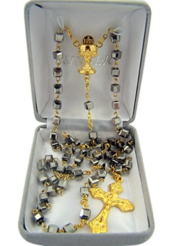 First Communion Rosary Hematite Square Prayer Bead with Gold-Toned IHS Chalice Centerpiece and Crucifix, 21 Inch ()
