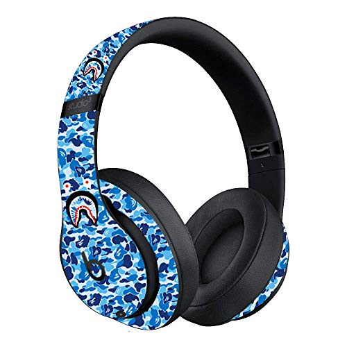 Custom Skin Decal for Beats Studio3 Wireless - Beats by Dre (Decal Only, Device is Not Included) - Vinyl Wrap Protective Sticker by VCG Customs (Blue Bape Camo) ()