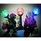 Solar Lights Outdoor,Solar Pathway Lights,3Pack 3Color Crackle Glass Globe,Solar Path Lights