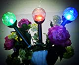 Solar Lights Outdoor,3 Color Crackle Glass Globe,Garden lights, for Path Walkway Patio Yard Pathway Landscape
