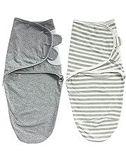 Zigjoy Swaddle Blanket Baby Adjustable 2 Pack Infant Sleep Sack 100% Cotton