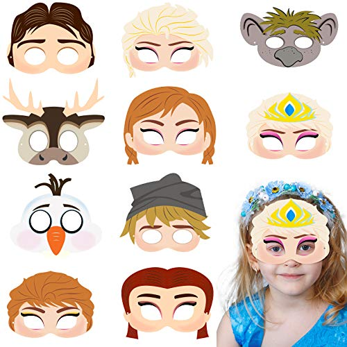 Kohl's Halloween Costumes (BeYumi 20Pcs Elsa and Anna Princess Masks Set Frozen Theme Party Costume Mask Cosplay Snow Queen Mask Carnival Halloween Party Supplies Pretend Play Accessories for)
