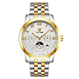Jili Online Automatic Stainless Steel Mechanical Band Waterproof Fashion Watch Men Gifts - Gold White