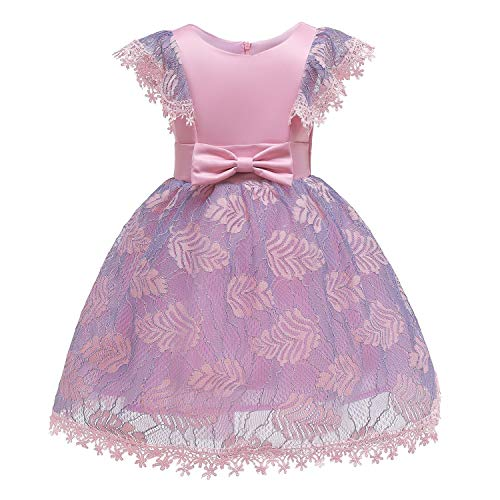 One Shoulder Printed Dress for Girls Princess Flower Wedding Pageant Party Dresses,Pink4,10]()