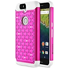 Google Nexus 6P Case, Fosmon [HYBO-SD] (Star Diamond) Dual Layer Hybrid Cover for Google Nexus 6P / Huawei Nexus 6P - Fosmon Retail Packaging (Hot Pink/White)