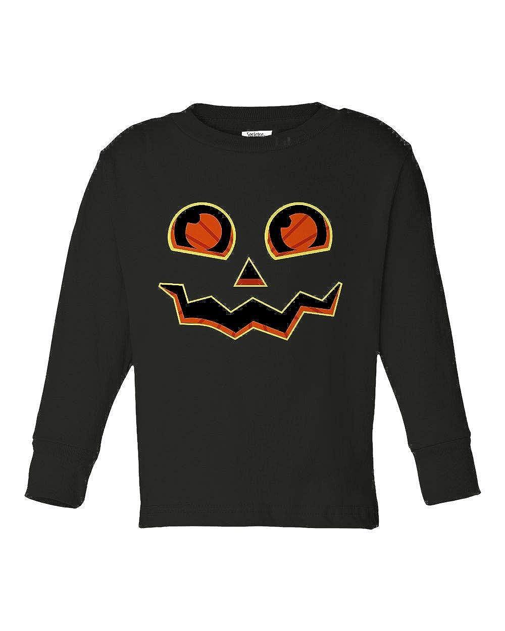 Societee Halloween Pumpkin Face Cute Girls Boys Toddler Long Sleeve T-Shirt