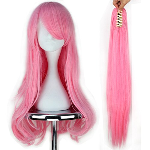 Miss U Hair Girl Long Wavy Pink Cosplay Costume Full Wig Claw Ponytail Set ()