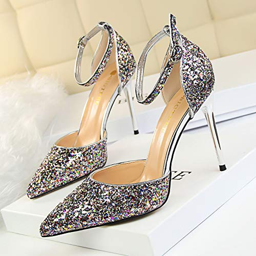 Shoes High Bridal Silver Women Wedding High Pointed Gold Sequins Yukun Heels Buckle Shoes Fine Color Shoes Crystal With heels xtdHwpBp