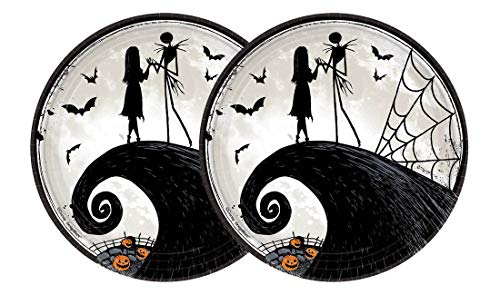 Nightmare Before Christmas Halloween Paper Plates - Jack Skellington & Sally Party Plates - 9