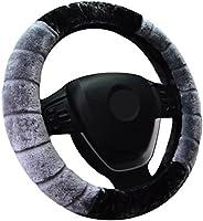 WINOMO Car Steering Wheel Cover Plush Universal Fit 15 Inch 38cm Grey