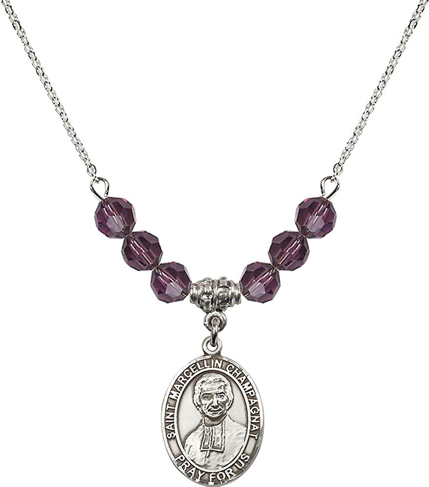 18-Inch Rhodium Plated Necklace with 6mm Amethyst Birthstone Beads and Sterling Silver Saint Marcellin Champagnat Charm.