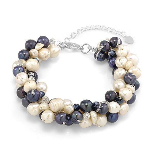 Silk Thread Freshwater Cultured Pearl White and Peacock Black Cluster Bracelet 7.5''-9.5
