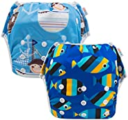 ALVABABY Swim Diaper Reuseable Washable 2pcs Pack One Size For SW0304CA