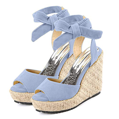 Womens Lace up Platform Wedges Sandals Classic Open Toe Ankle Strap Shoes Espadrille Sandals Blue by sweetnice Women Shoes (Image #2)