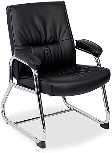 Lorell Guest Chair, 24-1 4 by 27 by 35-3 4-Inch, Black Leather