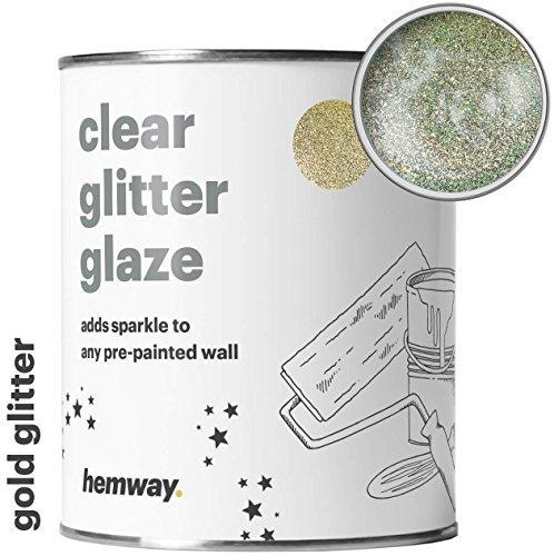 Emulsion Soft Sheen (Hemway Clear Glitter Paint Glaze (Gold) 1L/Quart for Pre-Painted Walls Acrylic, Latex, Emulsion, Ceiling, Wood, Varnish, Dead flat, Matte, Soft Sheen, Silk (CHOICE OF 25 GLITTER COLOURS))