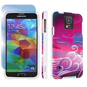 SkinGuardz Samsung Galaxy S5 Hard Protection Case + Screen Protector - (Pink Clouds White)