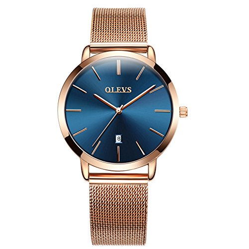 Luxury Watch Woman Ultra Thin Watch Women Female Rose Gold Steel Ladies Watch Blue/Black/White Dial Waterproof Lady Fashion Calendar Analog Quartz Japan Movement Wrist Watch Simple Casual Girls Gift