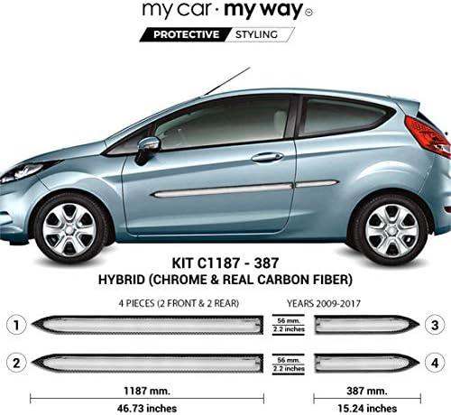 MY CAR MY WAY (Fits) Ford Fiesta 3 Door Hatchback 2009-2017 Hybrid Body Side Molding Cover Trim Door Protector