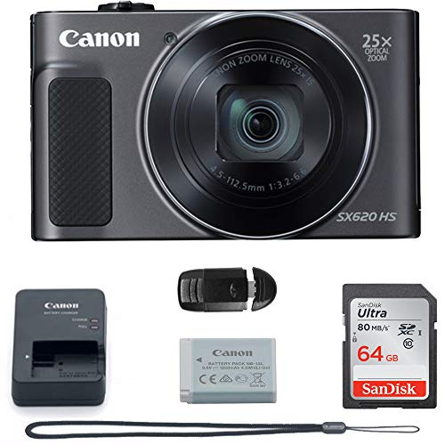 Canon PowerShot SX620 Digital Camera w/25x Optical Zoom – Wi-Fi & NFC Enabled (Black) – Memory Card Bundle (Camera + 64GB Memory Card) Buzz Photo Basic Bundle