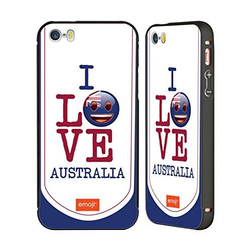 Officiel Emoji L'Australie J'aime Mon Pays Noir Étui Coque Aluminium Bumper Slider pour Apple iPhone 5 / 5s / SE
