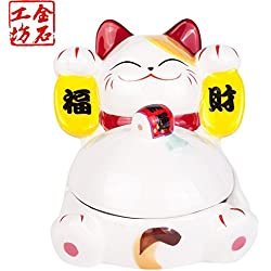 Maneki Neko Lucky Cat Super Cute Ashtray All Hand Made