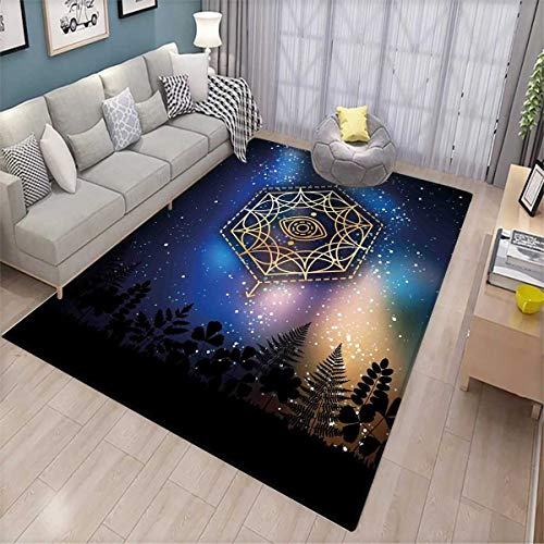Sacred Geometry Floor Mat for Kids Hexagon Form with The Eye Icon in The Centre on Starry Night Mystic Image Bath Mat Non Slip Gold ()