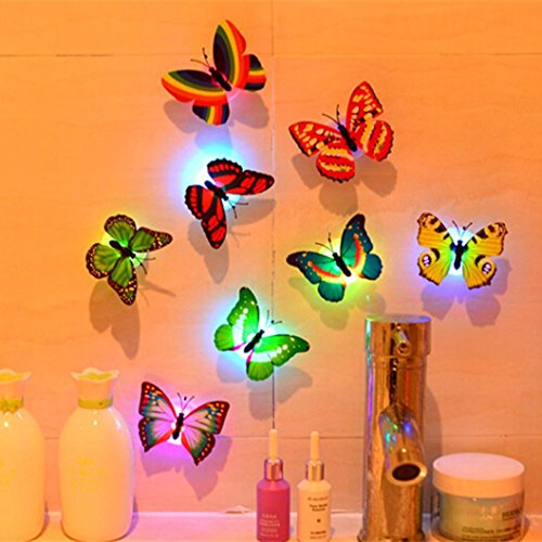 Rambling 1Pc 3D Butterfly Wall Stickers LED Lights Toys House Decoration,Can Be Used As Colorful Butterfly Night Light for Livingroom,Bedroom