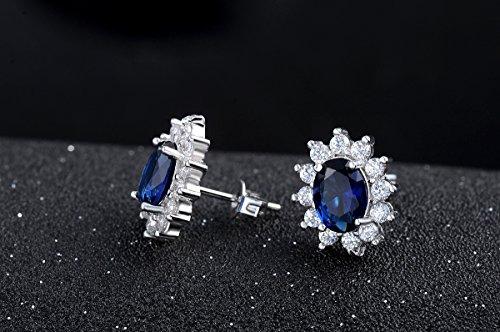 Très FLORAY Femme Élégant Saphir bleu Collier avec pendentif et Boucles  ZE87