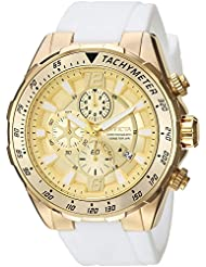 Invicta Mens Aviator Quartz Gold-Tone and Silicone Casual Watch, Color:White (Model: 24578)