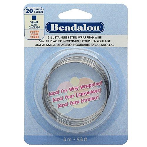 (Beadalon Square Wire 316L Stainless Steel 20 Gauge, 3-Meter)
