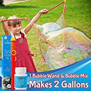 Giant Bubble Wands Kit | Incl. Wand, Bubble Mix for 2 Gallons of Natural Bubble Solution, and Tips & Trick