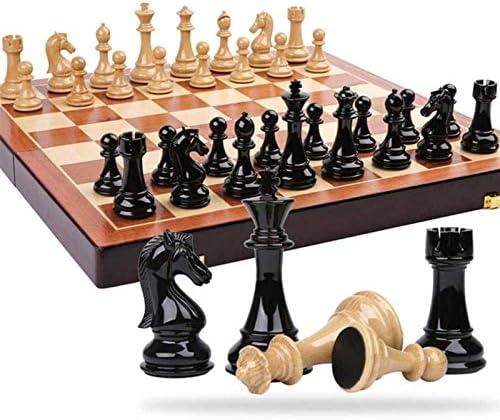 WMMCM Schaakbordset, magnetisch schaakbord met schaken, dammen, voor kinderen en volwassenen, opvouwbaar en draagbaar spelbord voor reizen