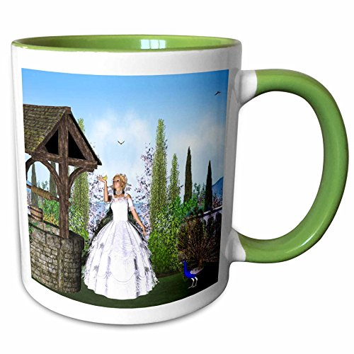 3dRose Simone Gatterwe Designs Fairies Fairytale - The princess wants to turn back their enchanted prince - 15oz Two-Tone Green Mug (mug_200950_12)